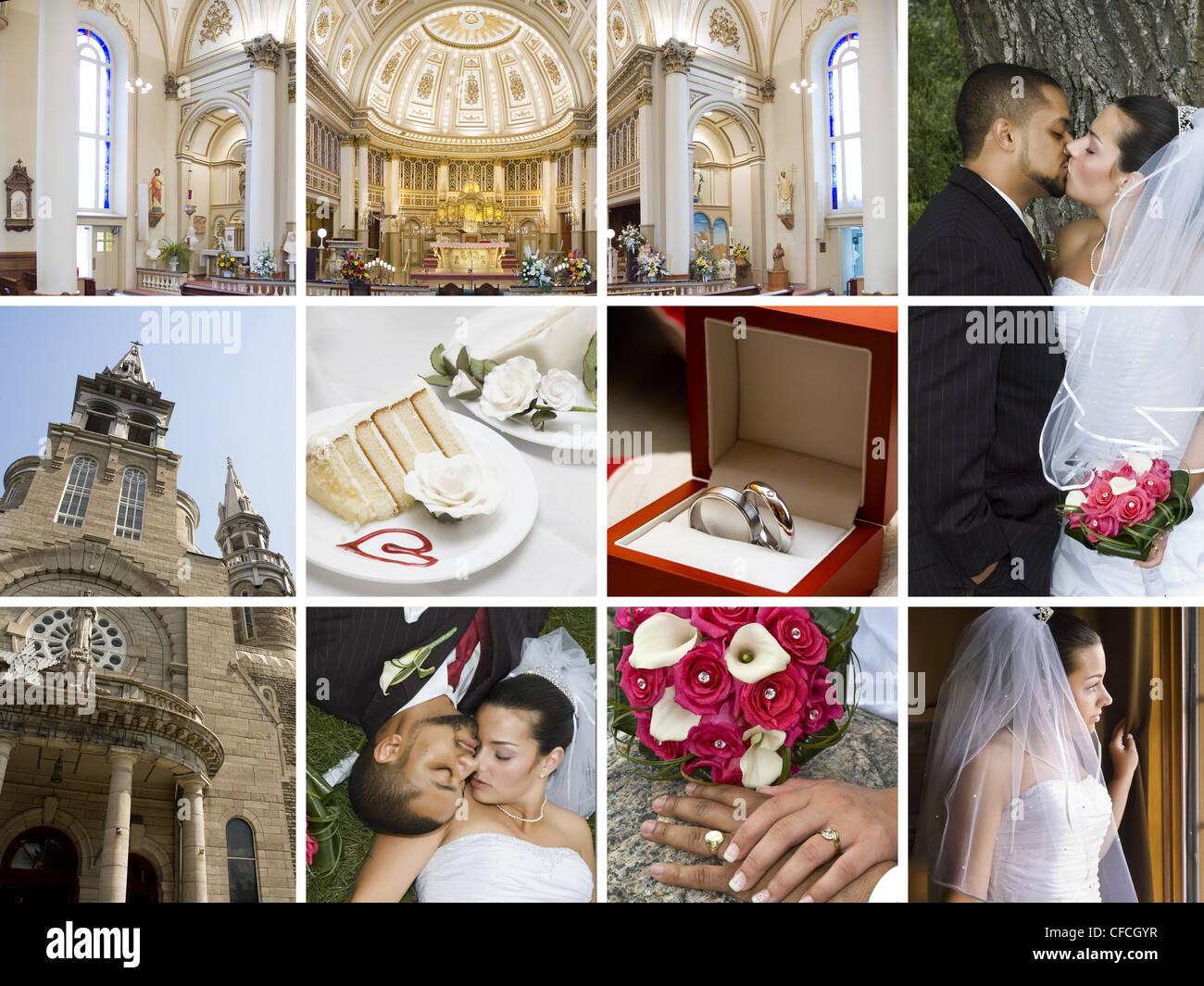 Collage Aus Vielen Verschiedenen Hochzeit Bezogene Bilder In Einem