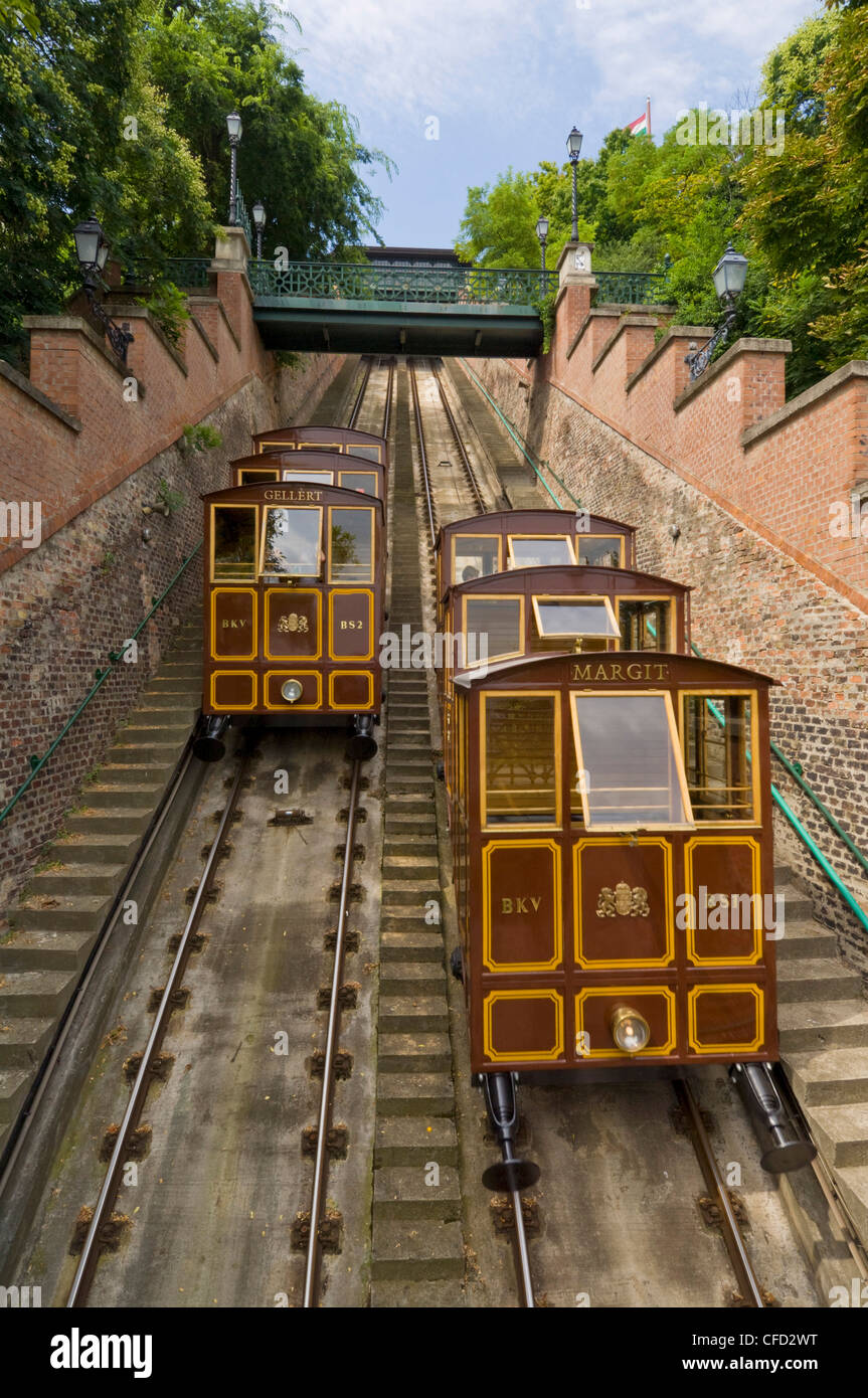 Budaer Burg Seilbahn Eisenbahn, Burgviertel, Pestseite der Donau, Zentrum von Budapest, Ungarn, Europa Stockbild