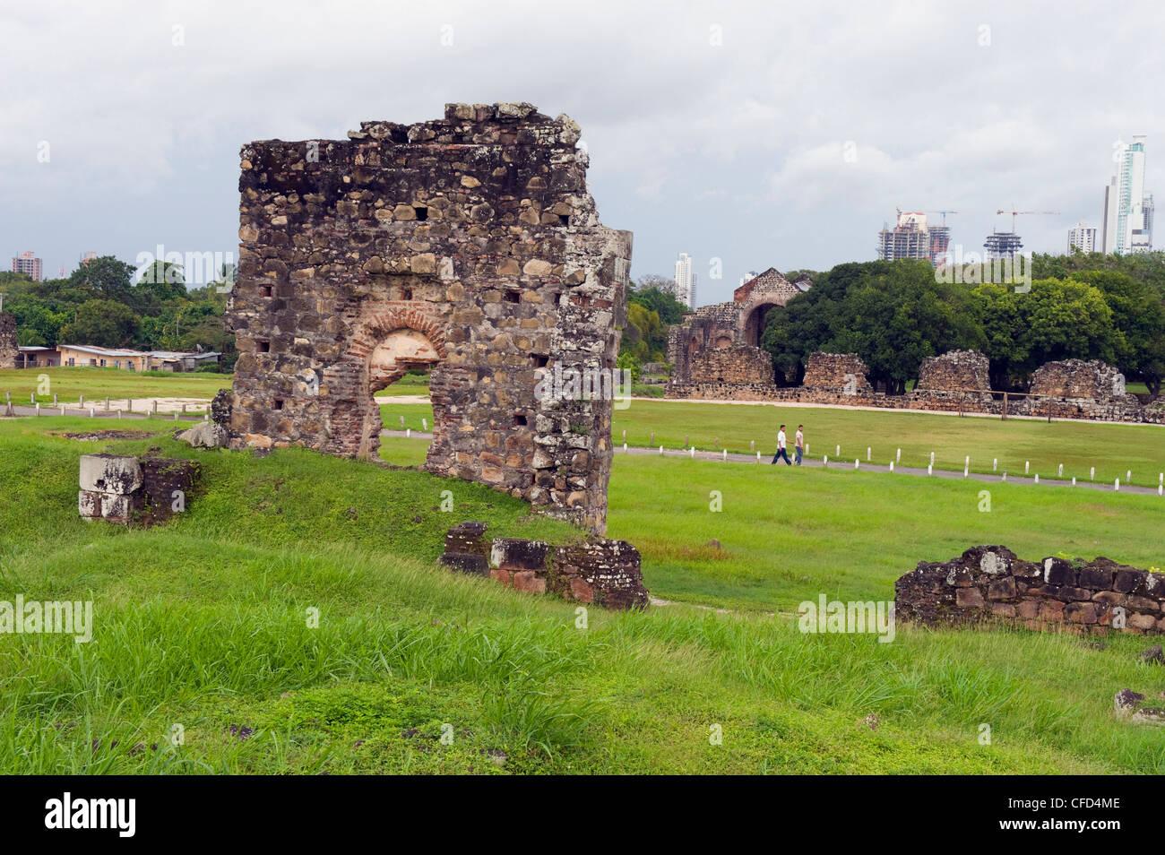 Archäologische Stätte Ruinen von Mittelamerika, Panama City, Panama, Panama Viejo, UNESCO-Weltkulturerbe Stockbild