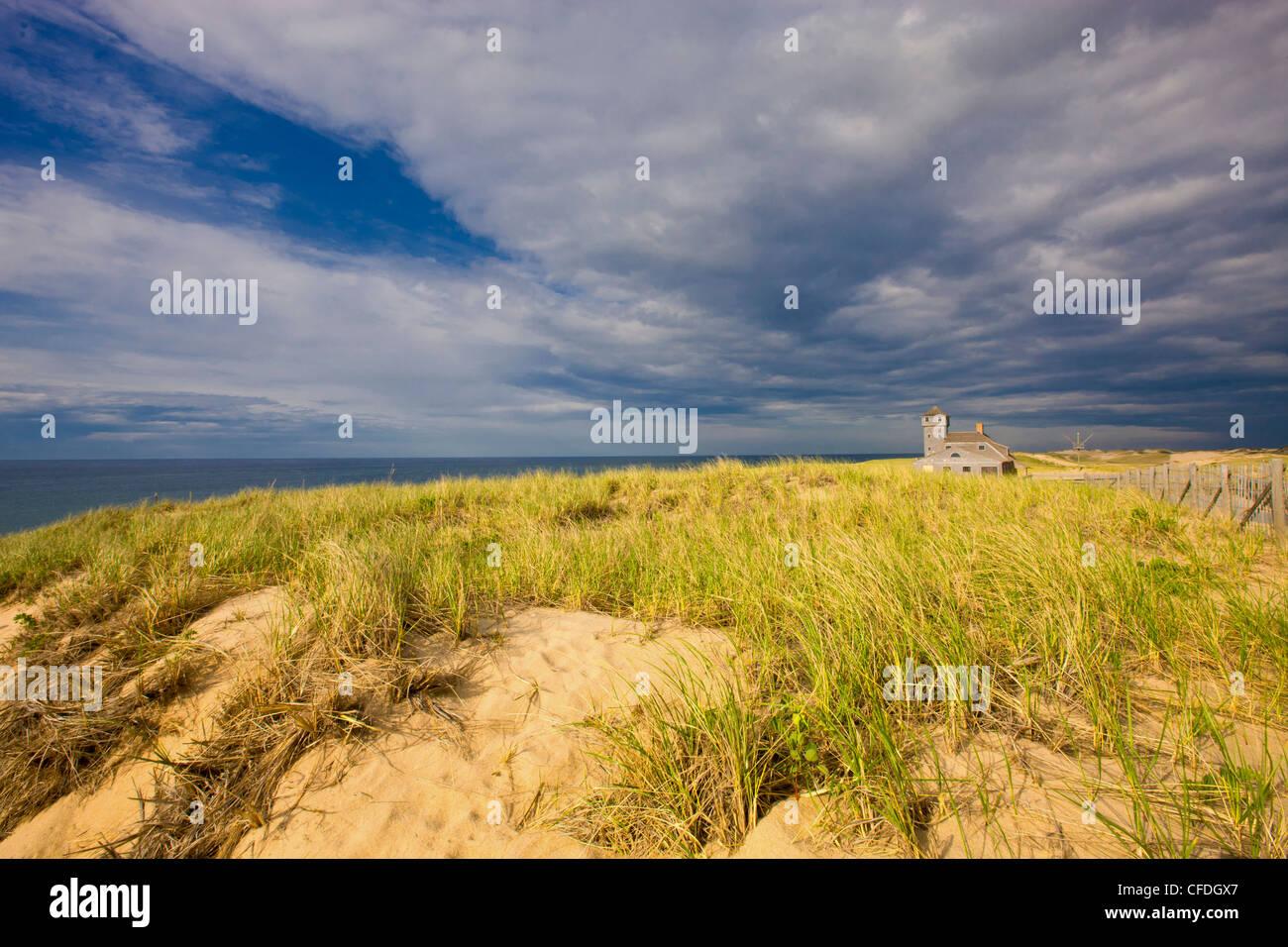 Cape Cod National Seashore Holz Ende lebensrettende Station, Massachusetts, Vereinigte Staaten von Amerika Stockbild