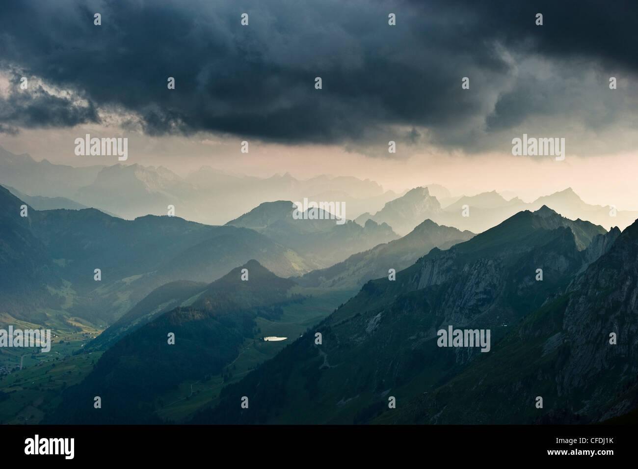 Säntis beim Sonnenuntergang, Alpsteingebirge, Säntis, Appenzeller Land, Schweiz, Europa Stockbild