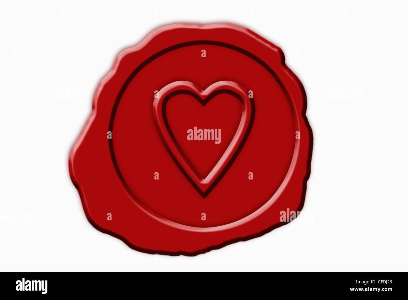 Detail-Foto einer roten Dichtung mit einem Herz-Symbol in der Mitte Stockbild