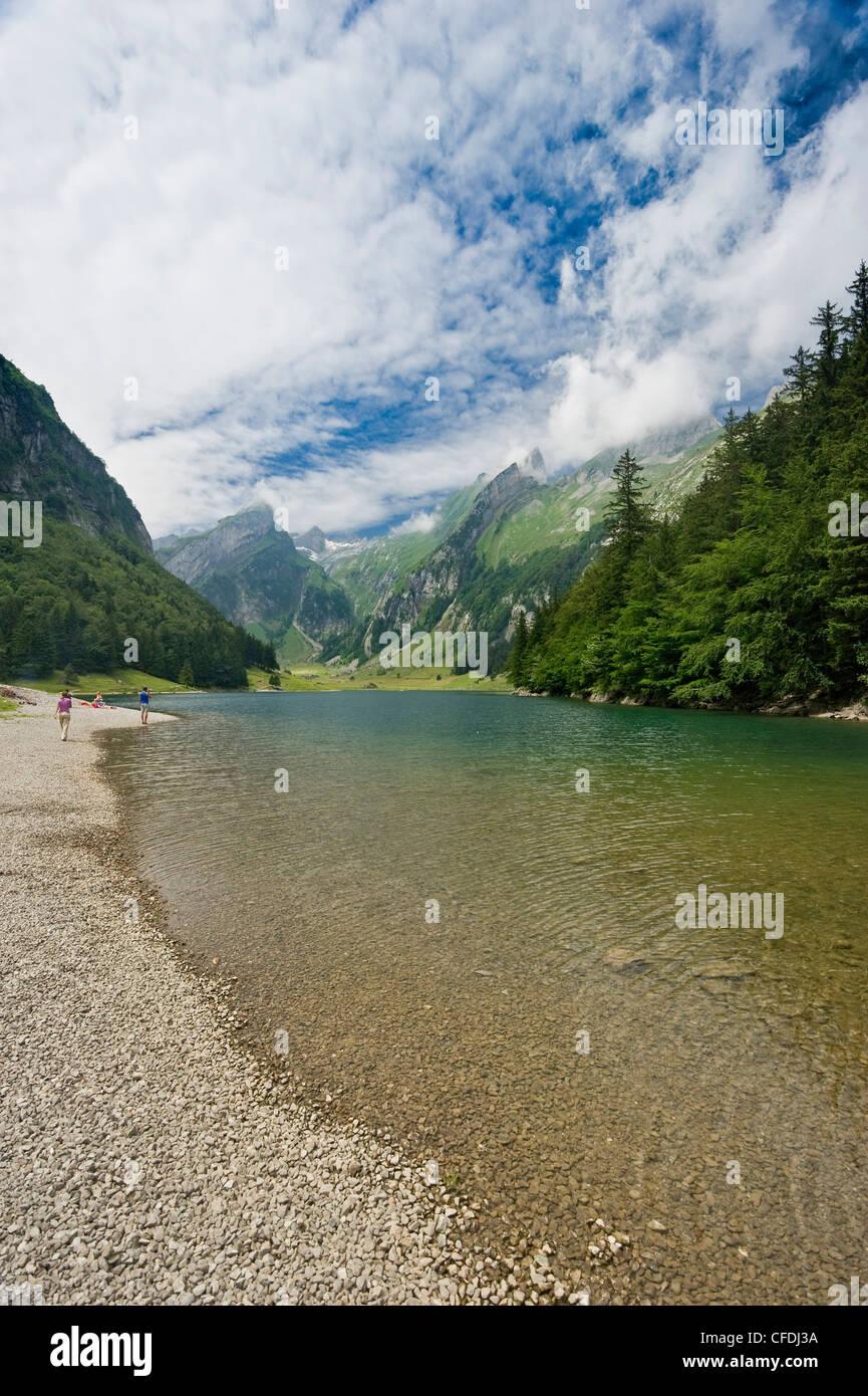 Die See-Seealpsee unter bewölktem Himmel, Alpsteingebirge, Säntis, Appenzeller Land, Schweiz, Europa Stockbild
