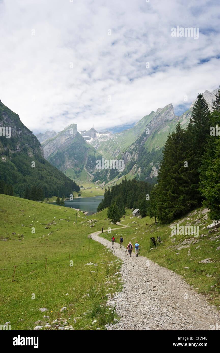 Wanderer auf einer Strecke am Seealpsee, Alpsteingebirge, Säntis, Appenzeller Land, Schweiz, Europa Stockbild