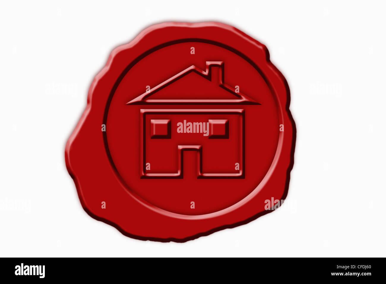 Detail-Foto einer roten Dichtung mit einem Haus-Symbol in der Mitte Stockbild