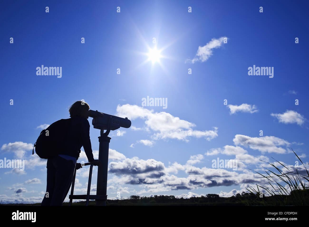 Frau, die durch ein Teleskop, Vogelbeobachtung, Grassy Narrows Marsh, Hecla Island Provincial Park, Manitoba, Kanada. Stockbild
