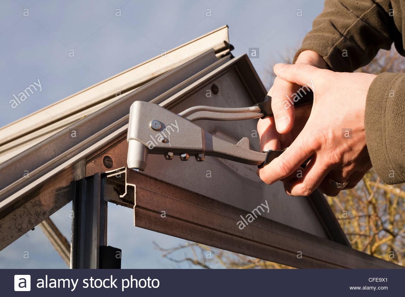 Person, die einen Pop Niet Pistole zur Behebung eine Gewächshaus-Tür Stockbild