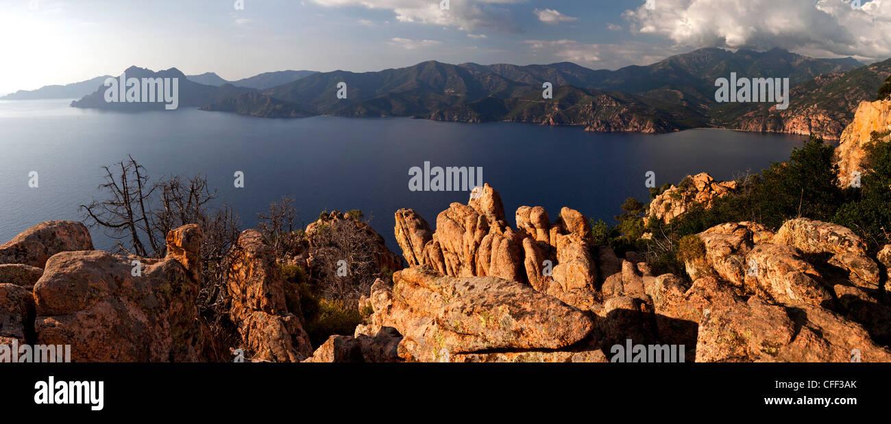 Panorama der Calanche, Golfe de Porto, Korsika, Frankreich Stockbild