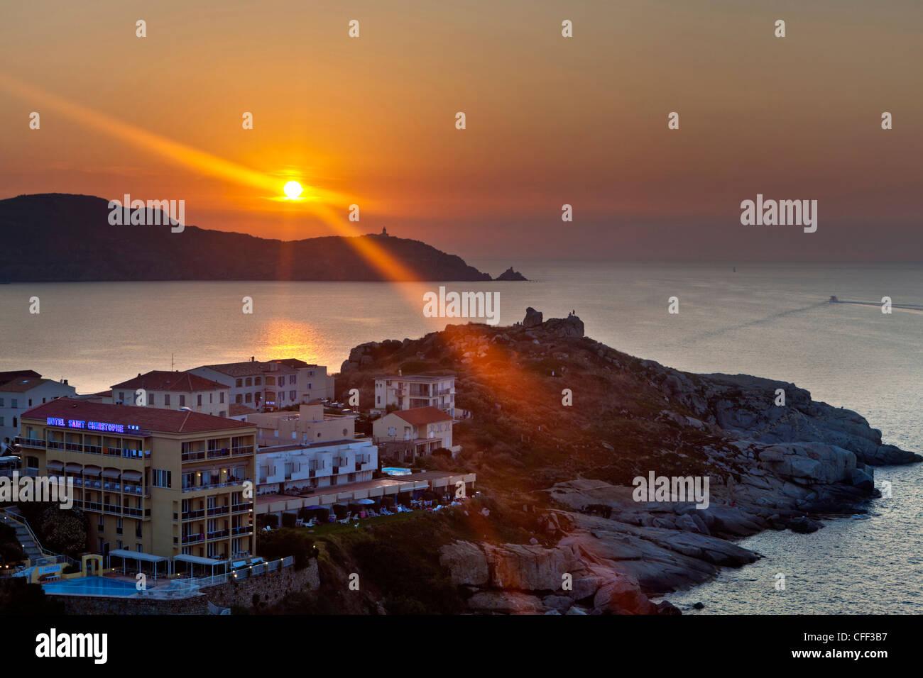 Sonnenuntergang, Golfe De La Revelata, Calvi, Korsika, Frankreich Stockbild