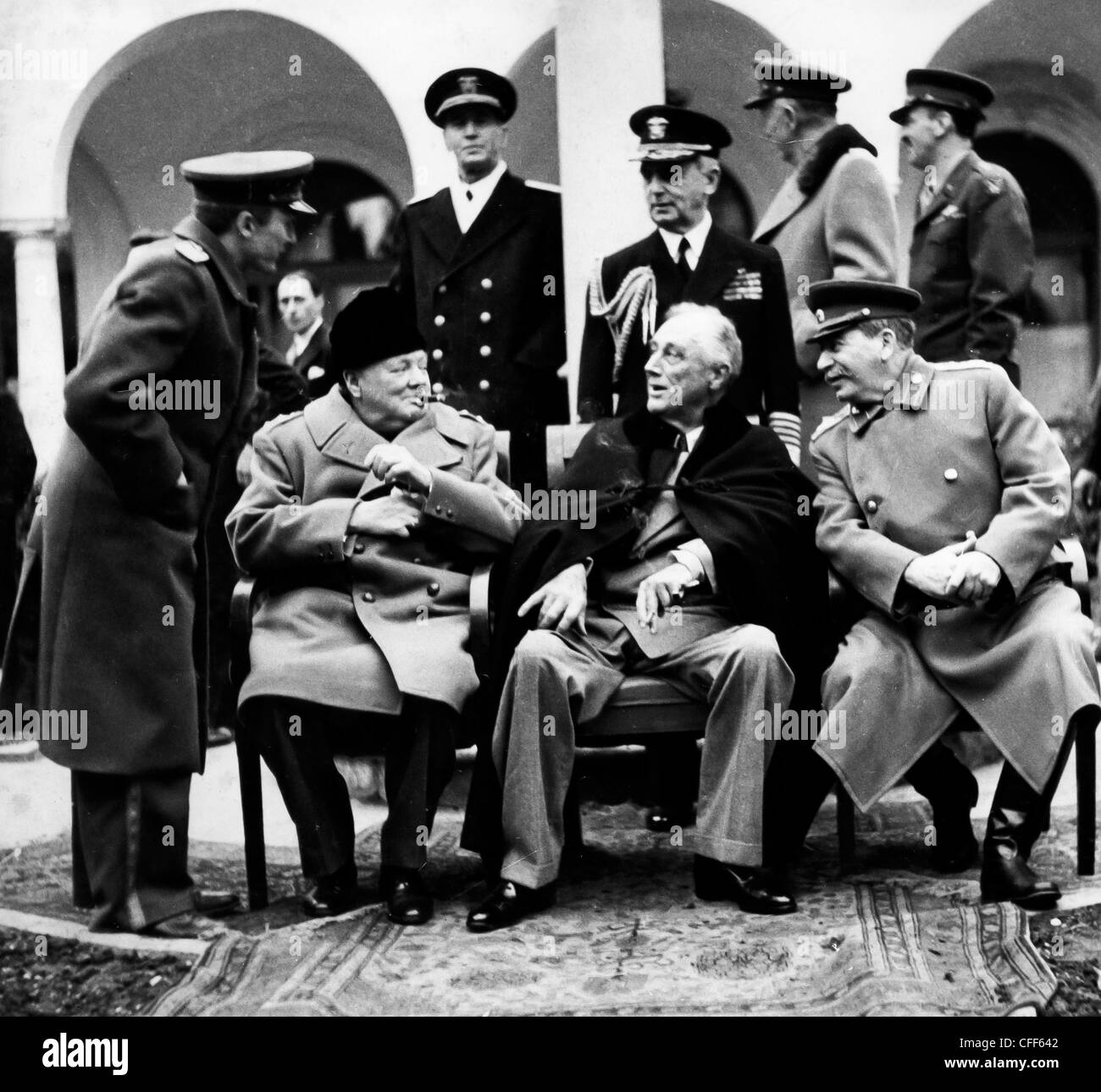 Churchill, Roosevelt und Stalin auf der Konferenz von Jalta 1945 Stockbild