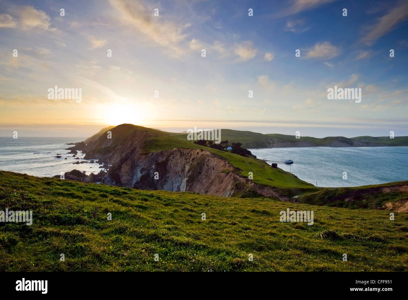Point Reyes National Seashore bei Sonnenuntergang auf der Nordküste California, USA. Stockbild