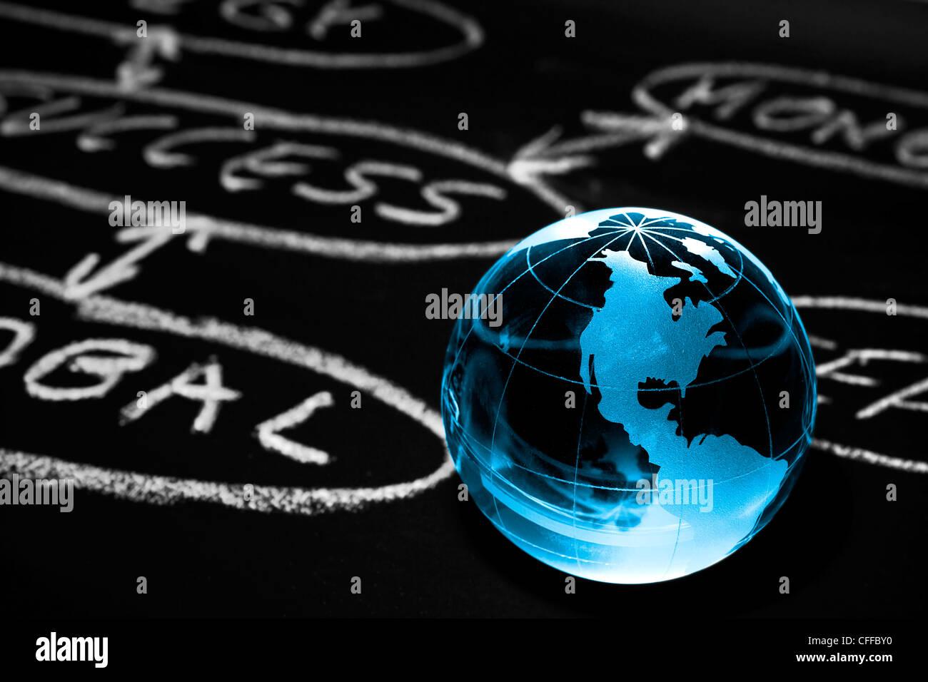 Flussdiagramm auf einer Tafel mit Weltkugel zeigt Amerika Stockbild