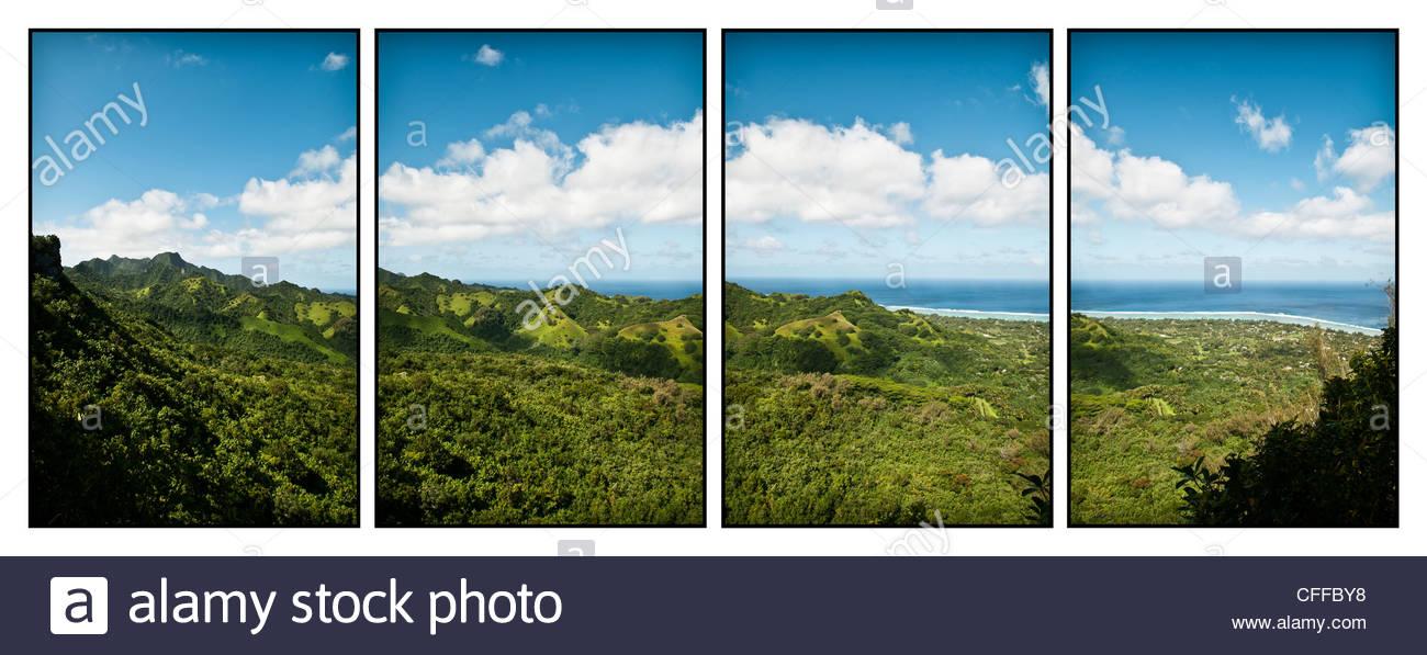 Blick über Rarotonga aus Raemaru Wanderweg, Rarotonga, Cook-Inseln. Stockbild