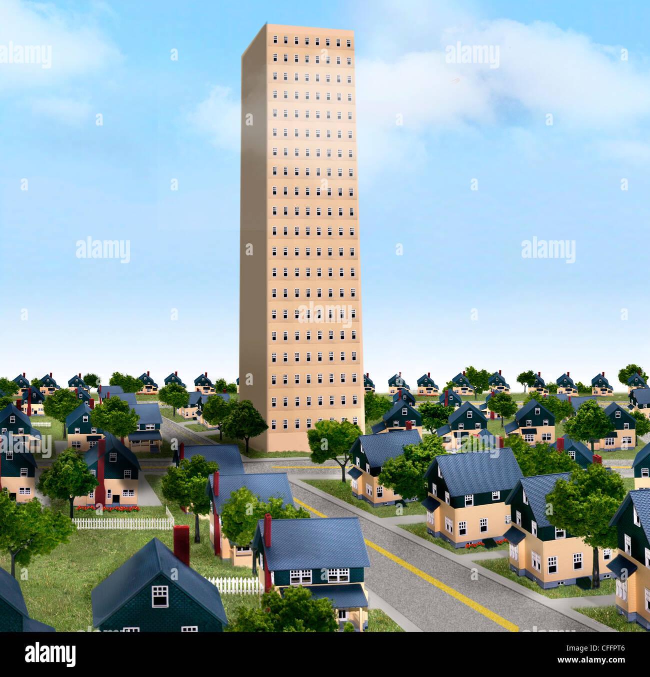 Suburban Nachbarschaft mit Hochhaus Stockbild