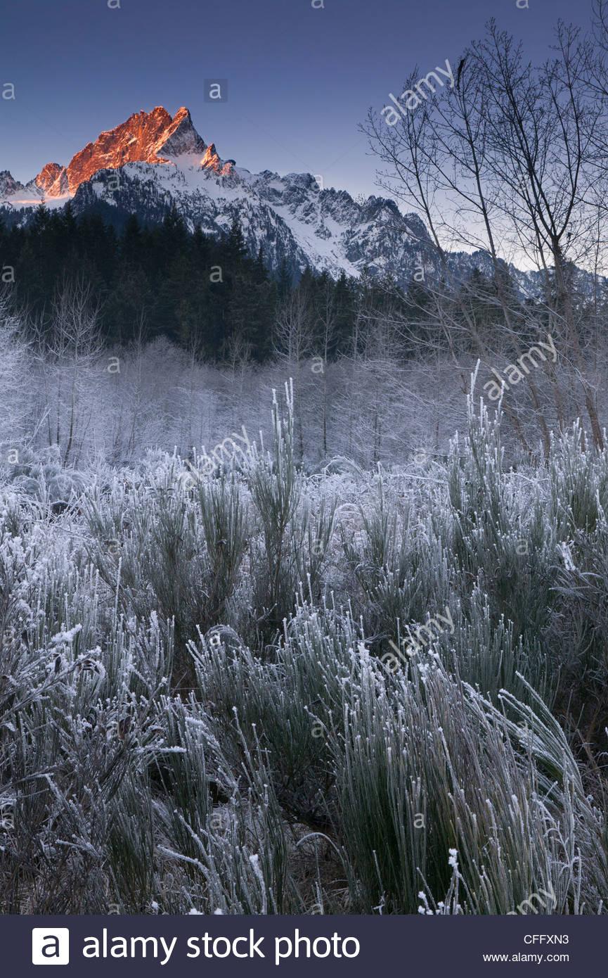 Das erste Licht des Tages schlägt Whitehorse Berggipfel, die über die eisigen Boden in der Nähe von Stockbild
