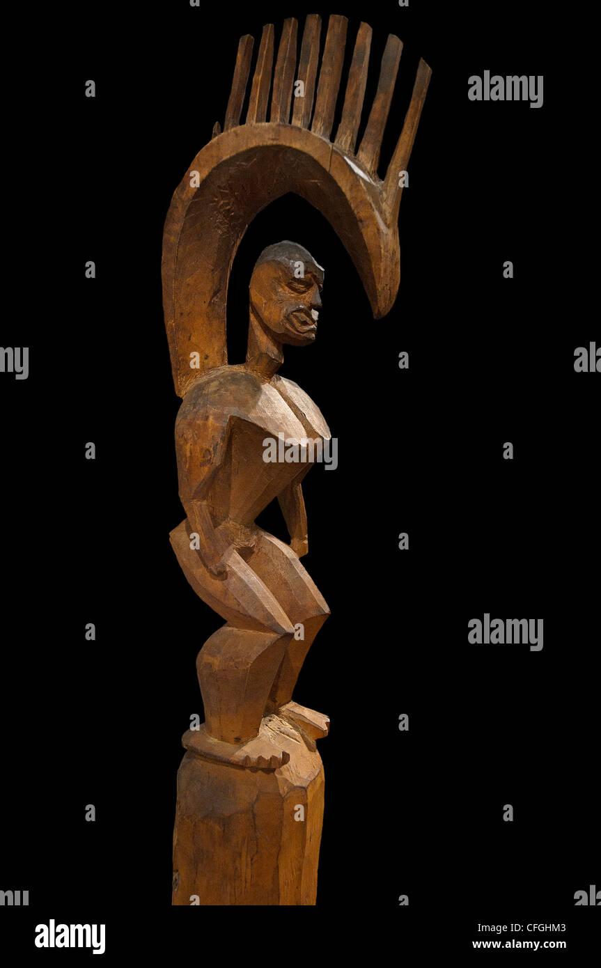 Abbildung von Gott Lono Skulptur 18 Jahrhundert Hawaii-Inseln Stockbild