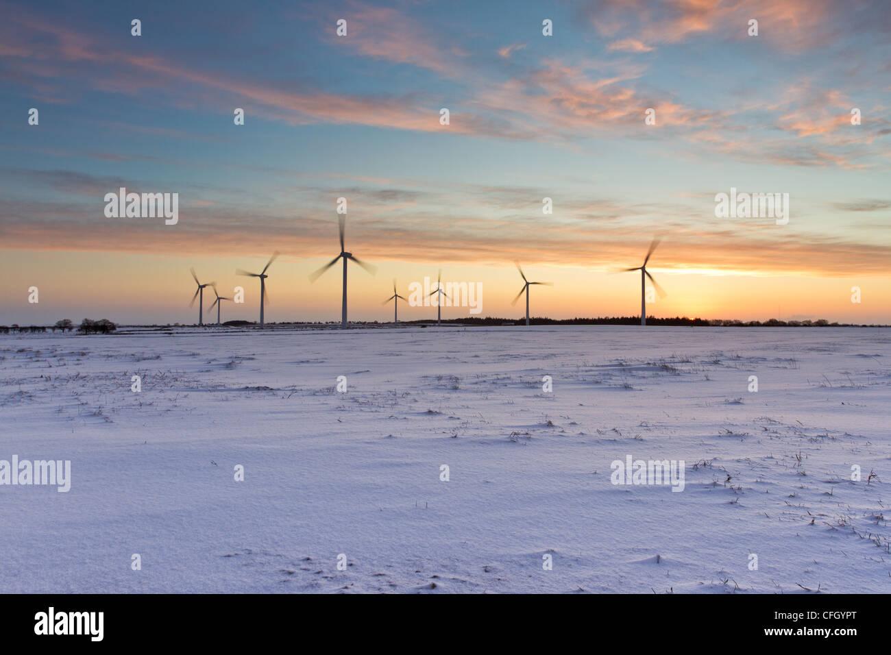 Die Morgendämmerung einer neuen Energiequelle - Knabs Ridge Windpark in North Yorkshire Stockbild