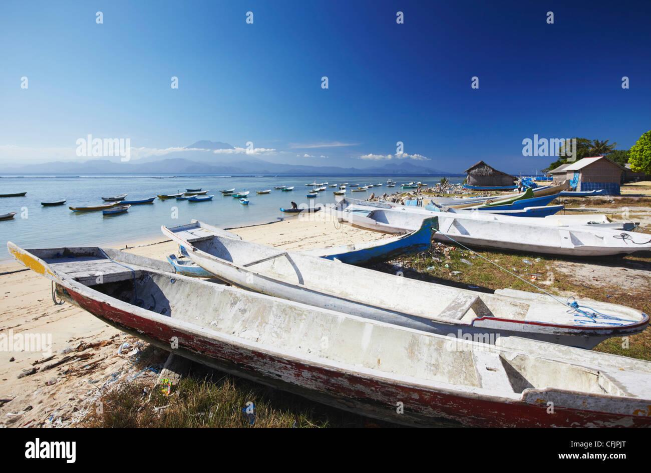 Boote in Fischerdorf, Nusa Lembongan, Bali, Indonesien, Südostasien, Asien Stockbild