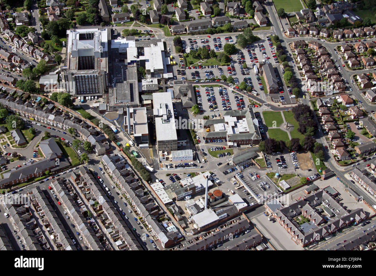 Luftaufnahme von Darlington Memorial Hospital, County Durham Stockbild