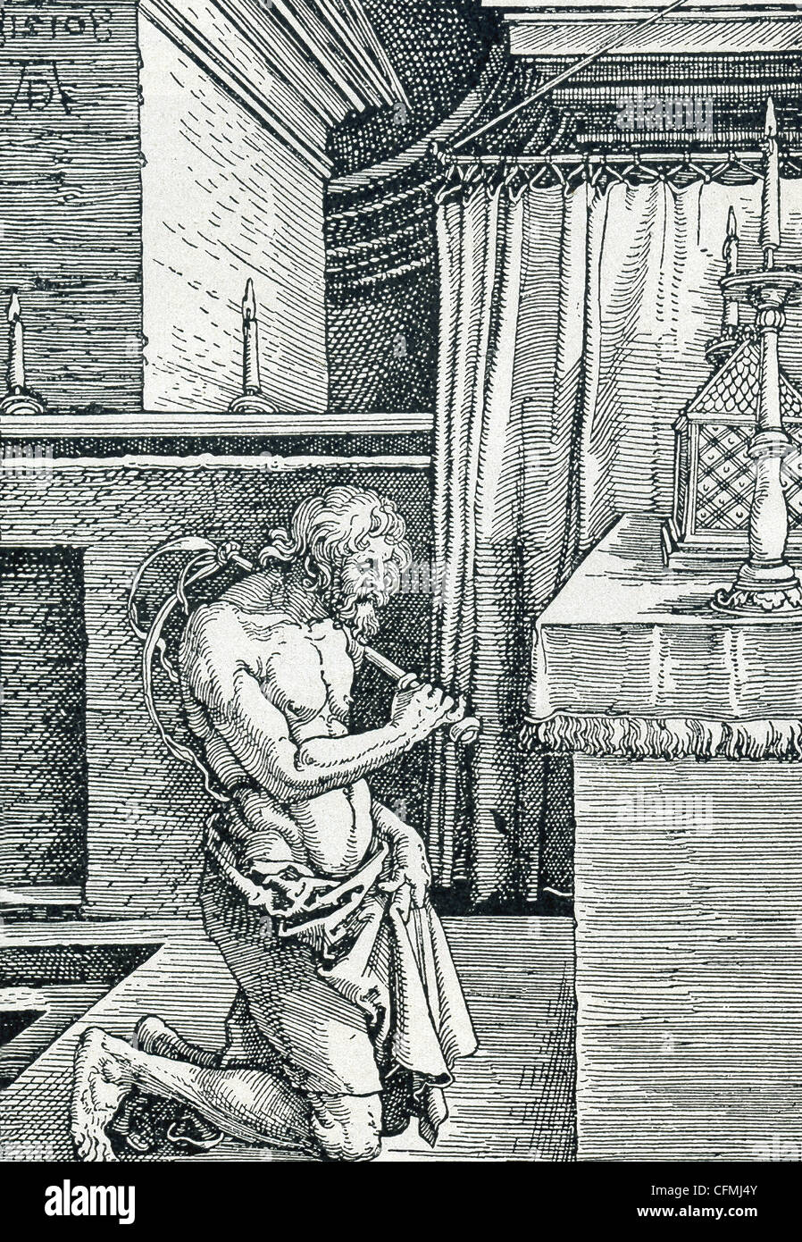 In diesem Stich von deutscher Maler, Grafiker und Kupferstecher Albrecht Dürer (1471-1528), peitscht ein geistlichen Stockbild