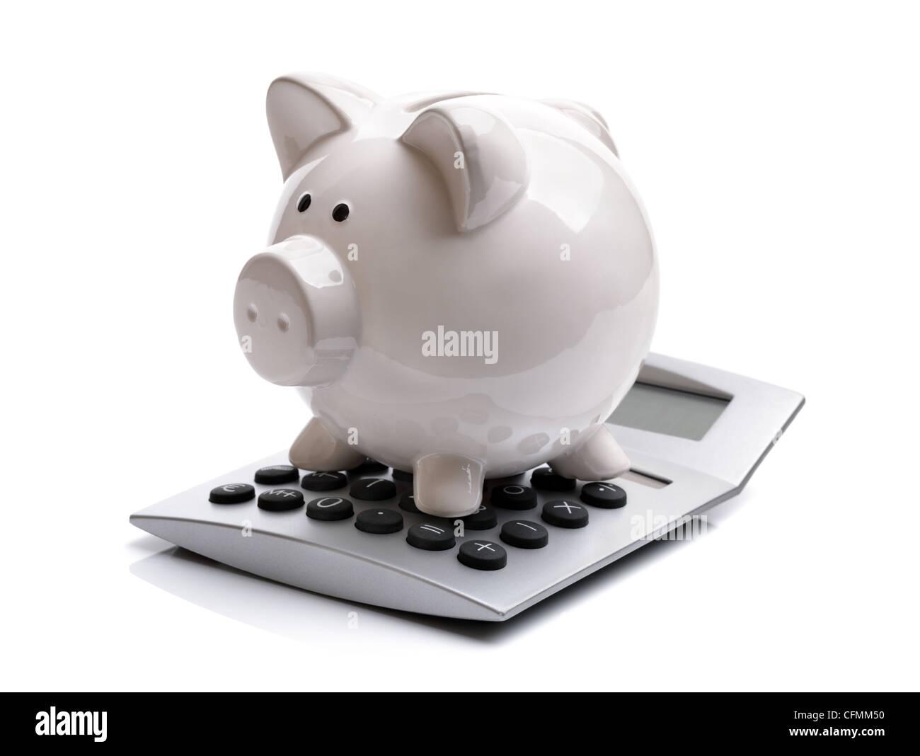 Sparschwein mit Taschenrechner Stockbild