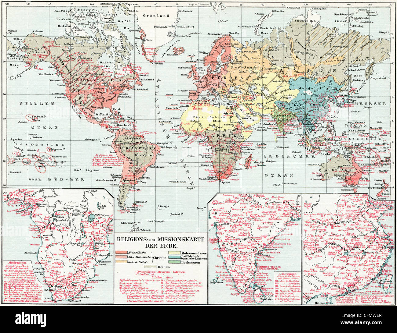 Karte der Verbreitung der großen Religionen der Welt. Missionarische Karte. Stockbild