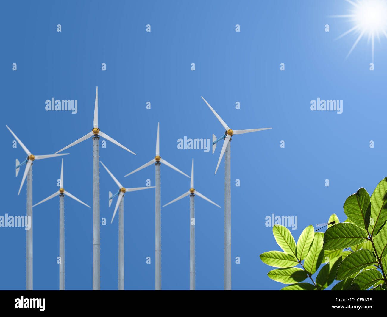 Bereich der Windmühle mit grünen Blätter und kleine Libelle Stockbild
