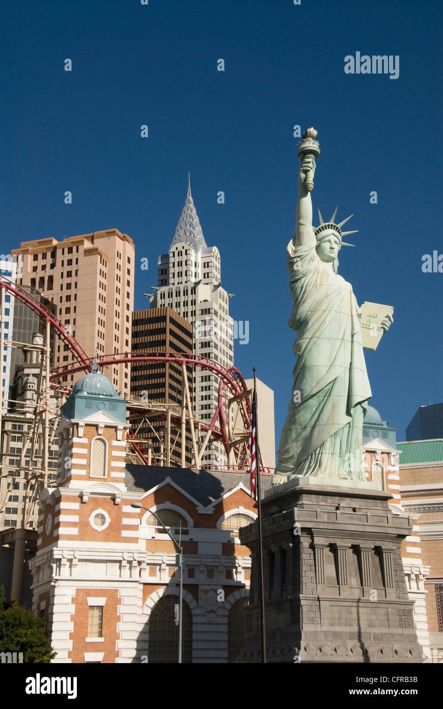New York-New York Hotel und Nachbildung der Statue of Liberty, Las Vegas, Nevada, Vereinigte Staaten von Amerika, Stockfoto