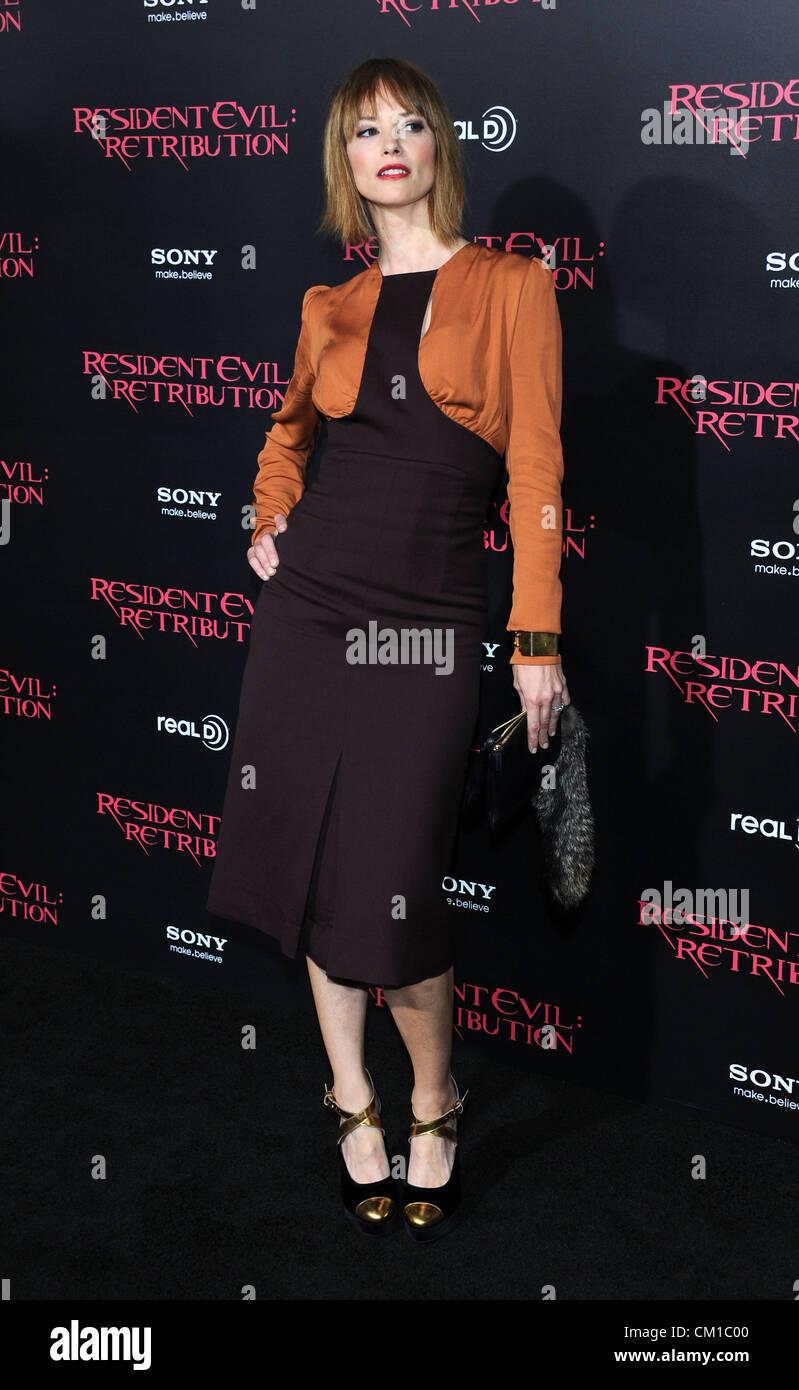 Los Angeles, CA, USA 12. September 2012.  Sienna Guillory bei der Filmpremiere für Resident Evil - Vergeltung Stockbild