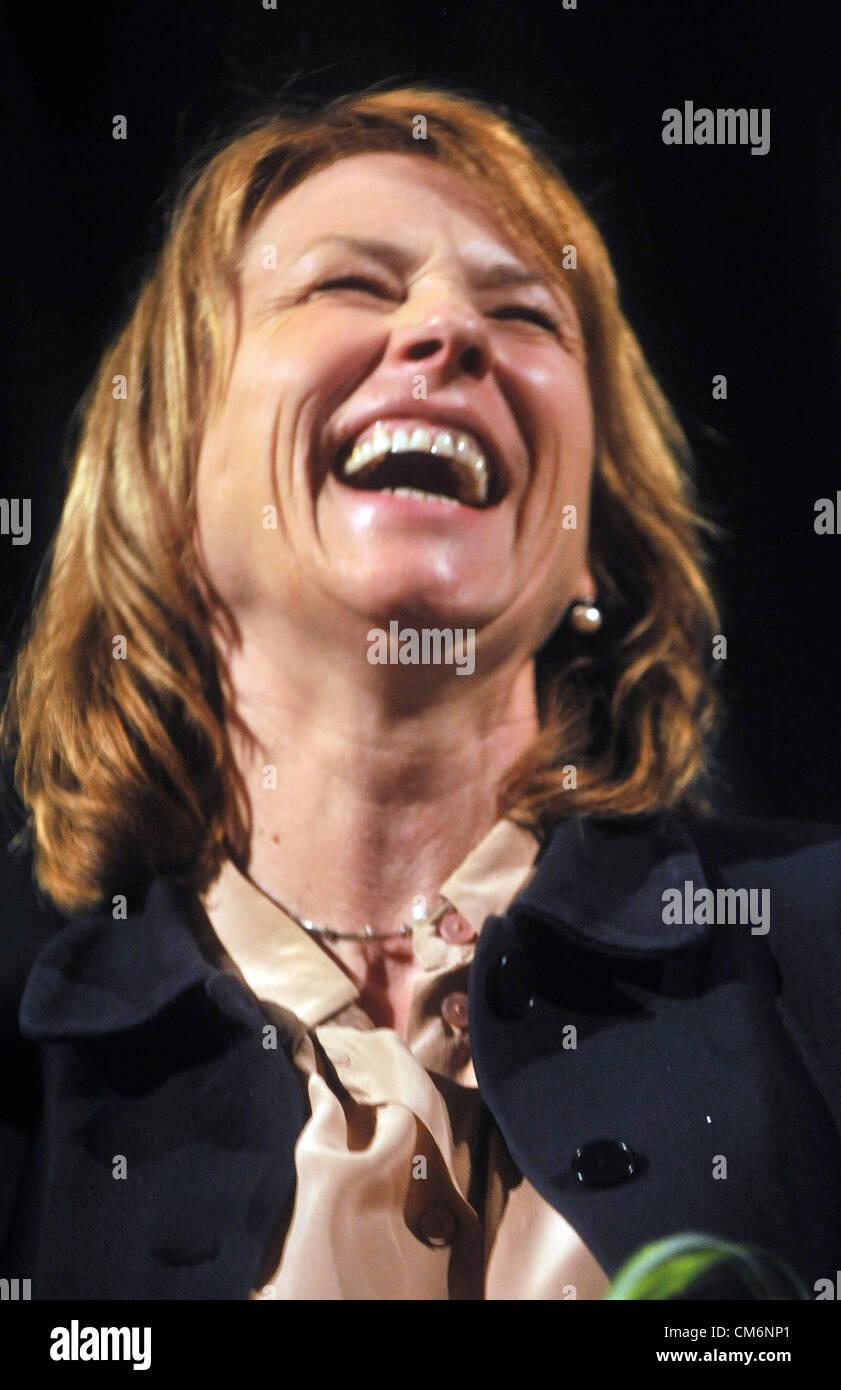 Prag, Tschechische Republik. 17. Oktober 2012. Deutsche Schauspielerin Corinna Harfouch während der Eröffnungsfeier Stockbild