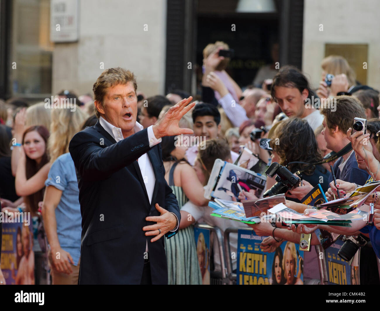 David Hasselhoff bei Keith Lemon Film, Premiere Odeon Leicester Square in London Uk Montag, 20. August 2012. Stockbild