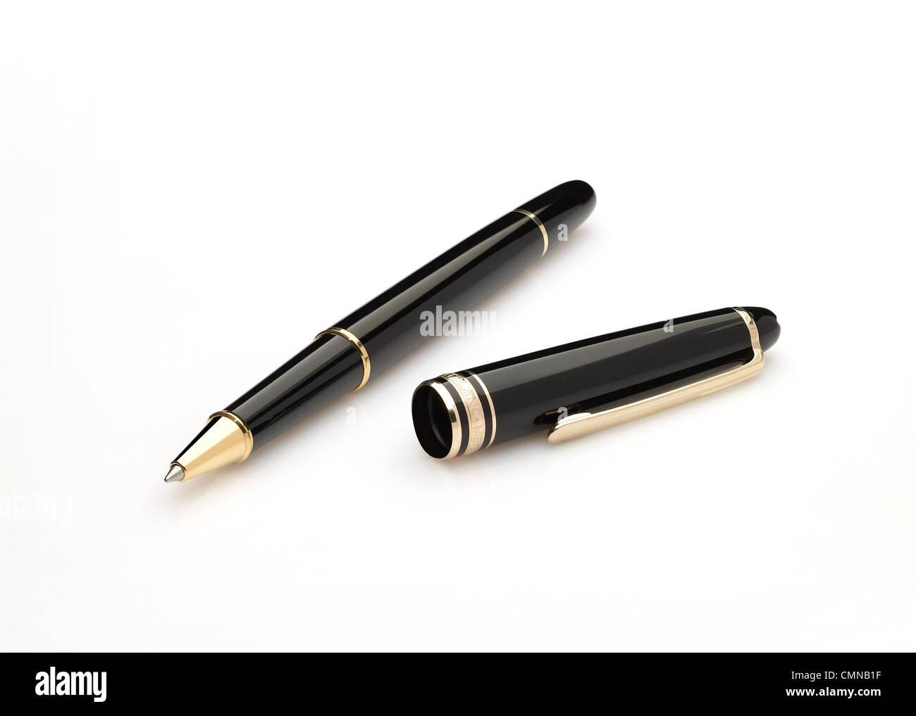 Executive-Stift, Stift auf weißem Grund, Unterzeichnung, Unterschrift, Zeichen, Kugelschreiber Stockbild