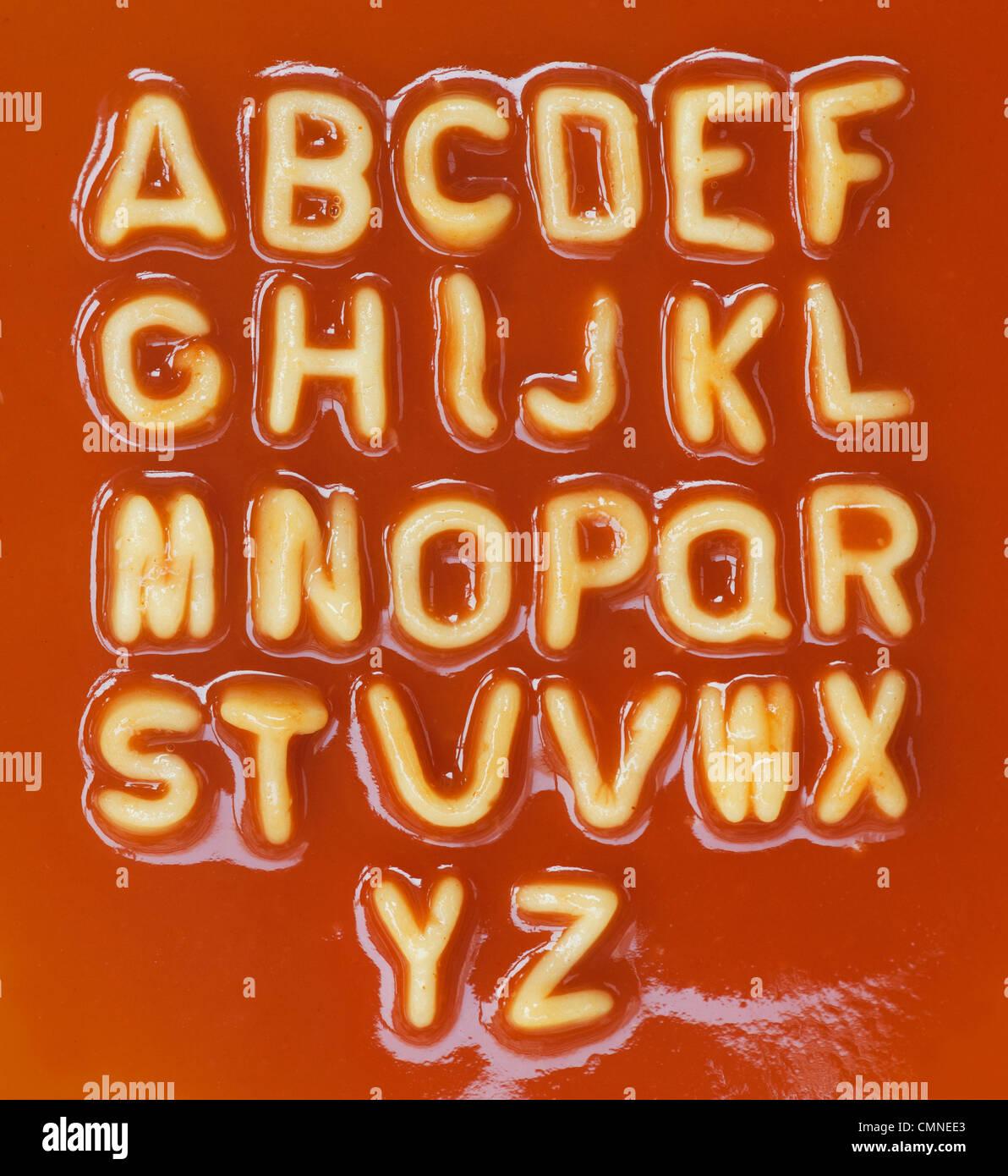 Spaghetti Buchstaben in alphabetischer Reihenfolge Stockbild