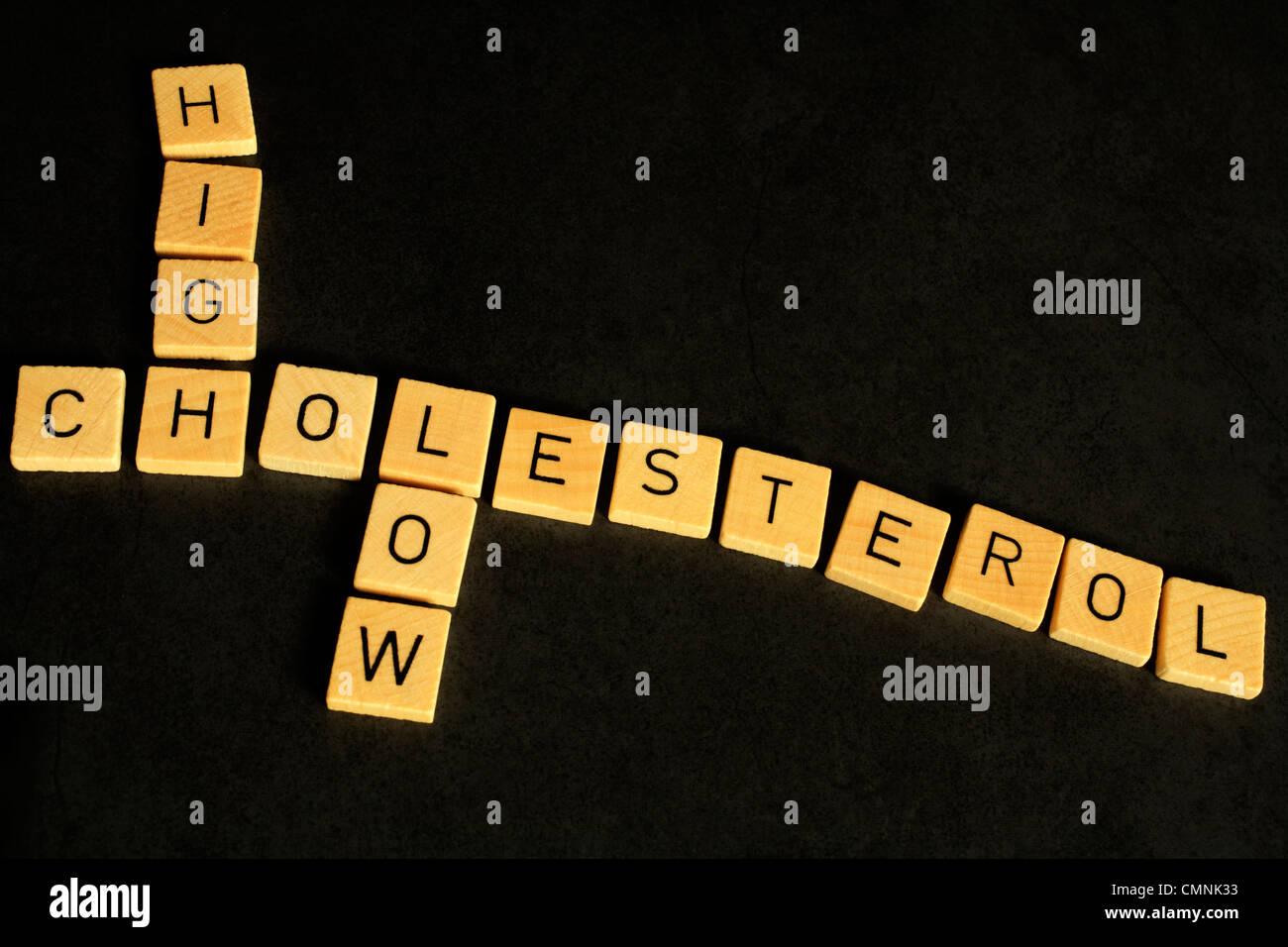 Ein konzeptioneller Blick auf Cholesterin, mit den Worten hoch und niedrig wie ein Kreuzworträtsel. Strukturiert Stockbild