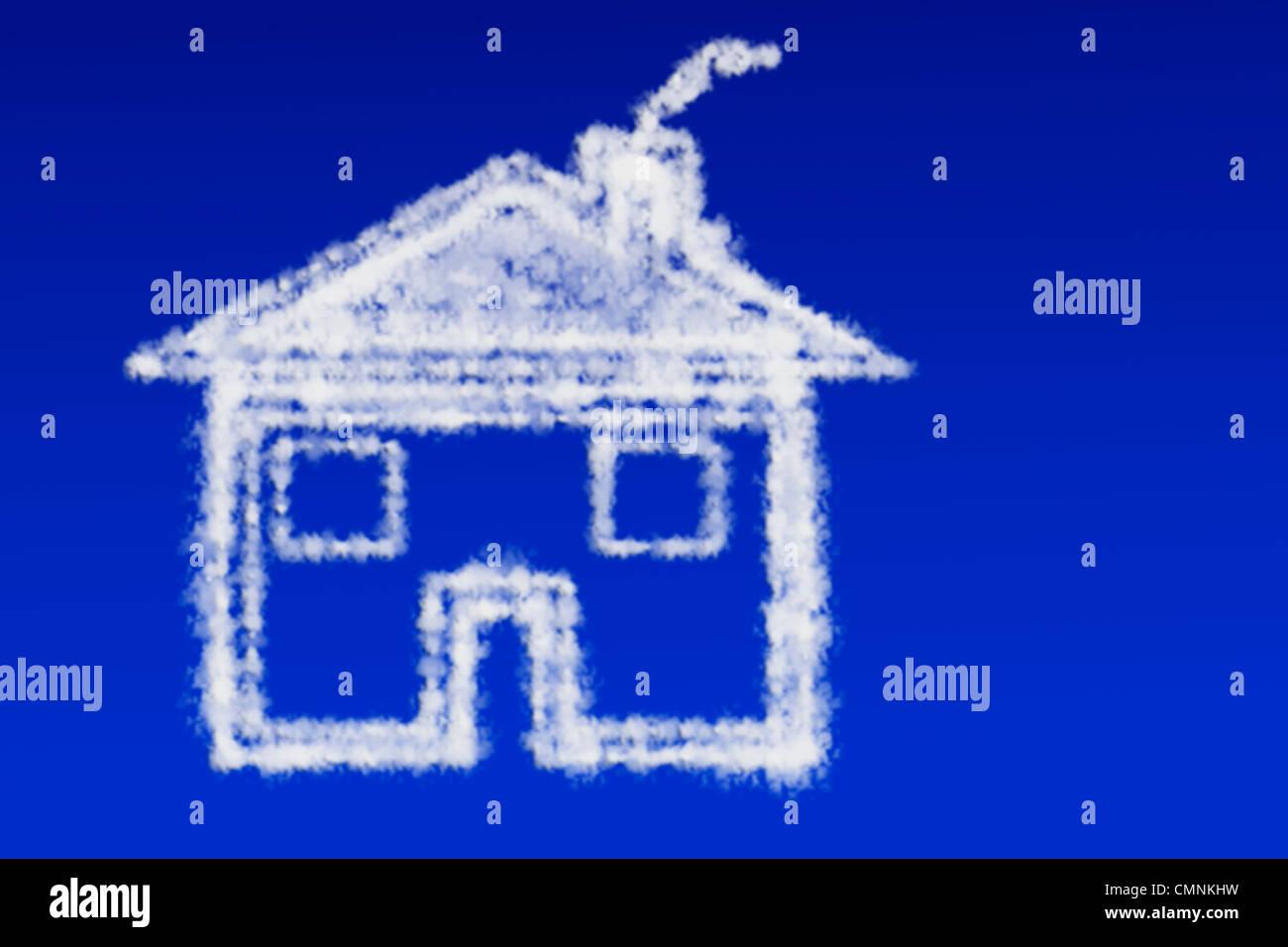 Wolken in Form Eines Stadtstraßennetz Schweben bin Blauen Himmel   Wolken in der Form eines Hauses in den blauen Stockbild