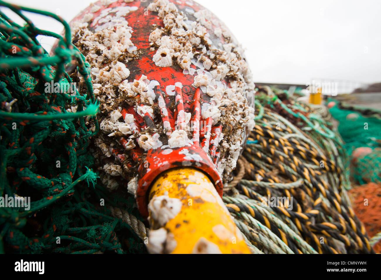 Fanggeräte am Hafen an der Portnalong, Isle Of Skye, Schottland, Großbritannien. Stockfoto