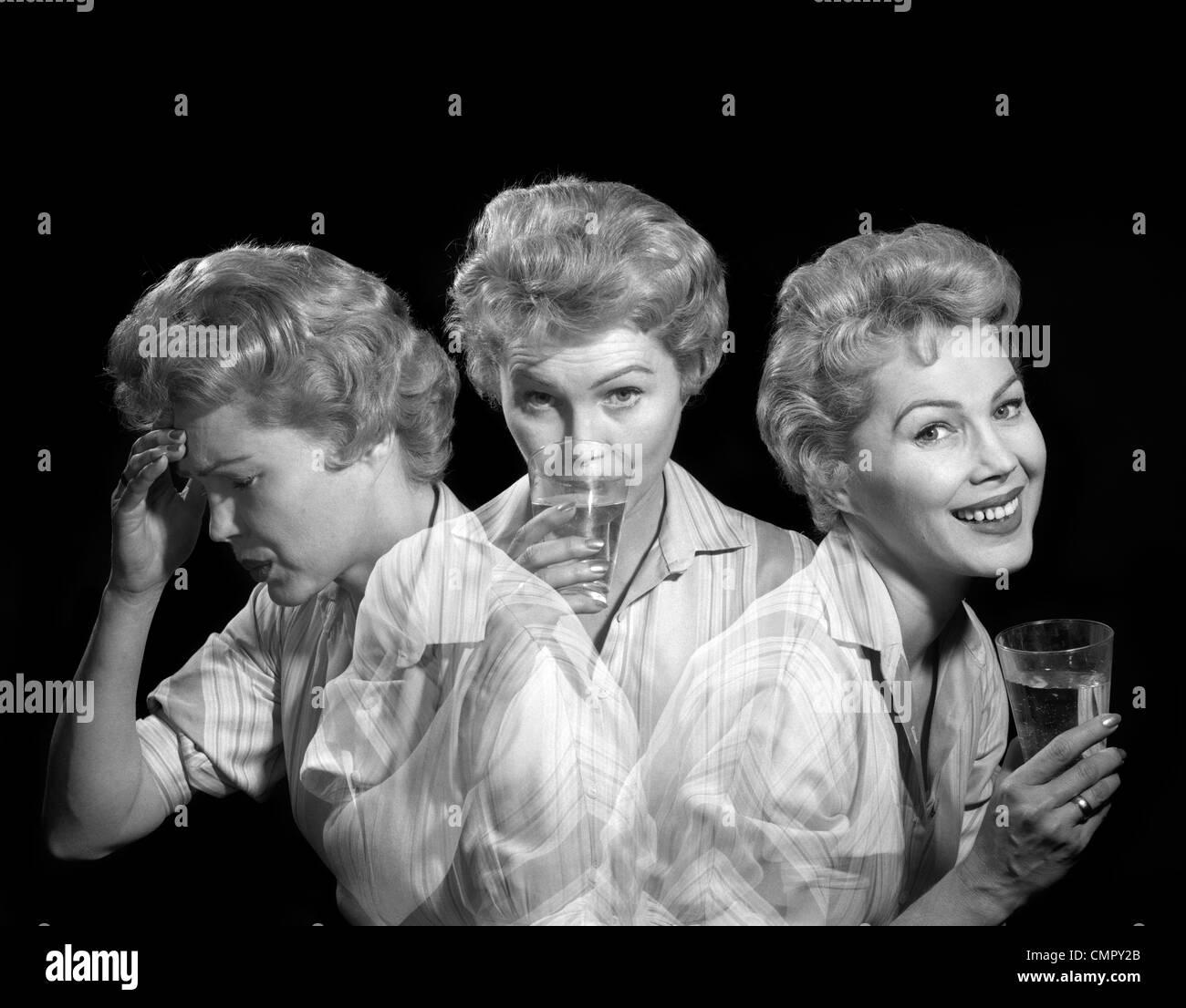 1950S 1960S MEHRERE EXPOSITION FRAU MIT KOPFSCHMERZEN NEHMEN MEDIZIN UND LÄCHELND MIT AUSDRUCK DER LINDERUNG Stockbild