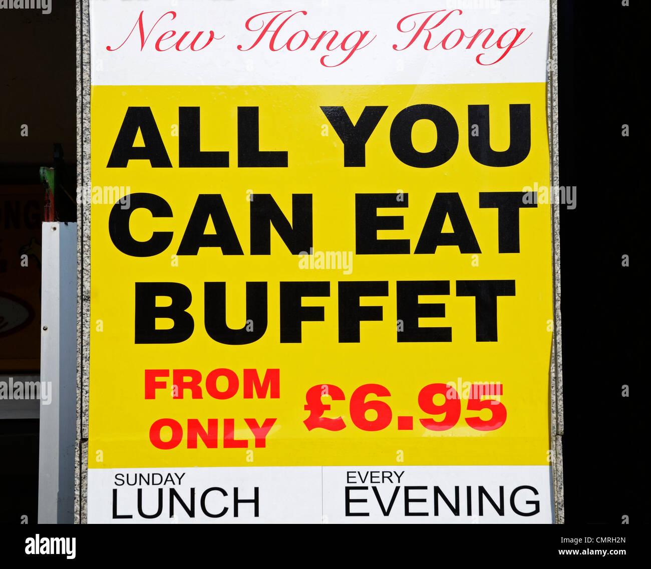 """Werbung ein """"all you can eat"""" Buffet mit chinesischen Zeichen Stockbild"""