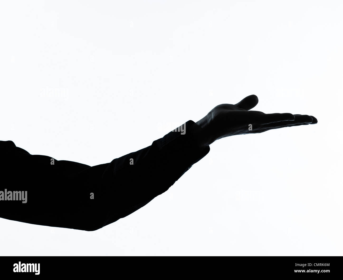 ein kaukasischer Mann leere Hand öffnen Porträt Silhouette in Studio isoliert auf weißem Hintergrund Stockbild