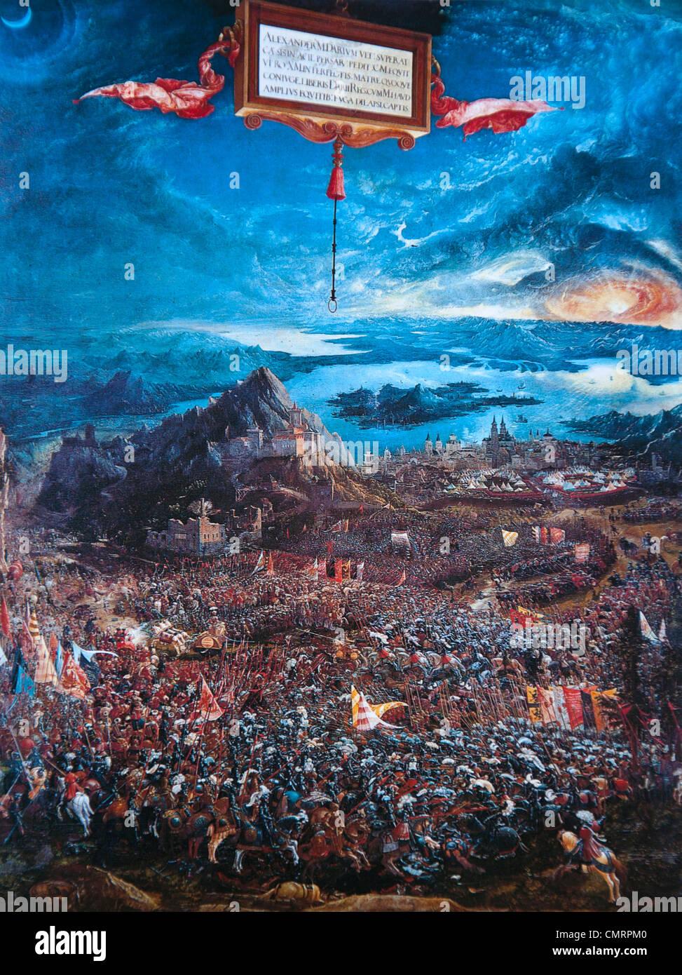 Albrecht Altdorfer: Die Schlacht von Alexander bei Issos, 1529 (Alexanders Sieg) Stockbild