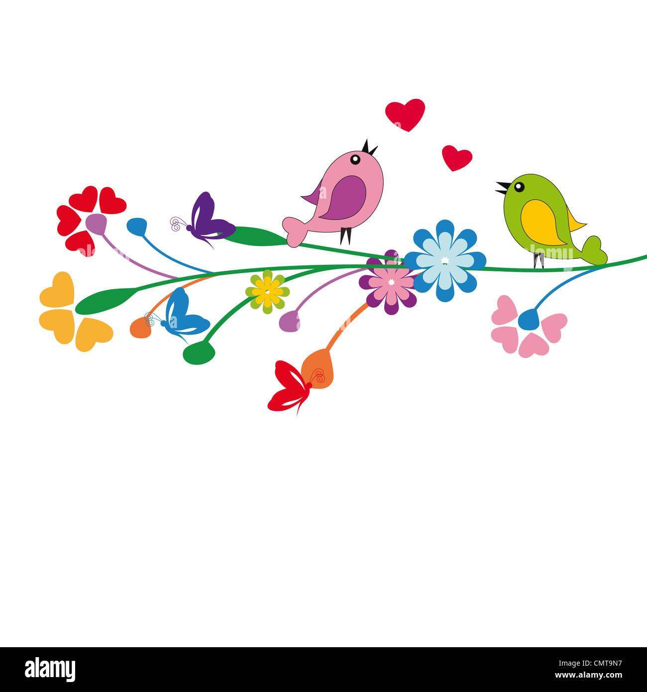 Niedlichen Kinder Cartoon mit Blumen und Vögel Stockbild