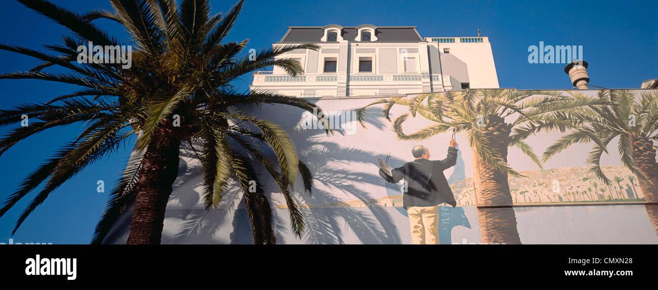 Malerei, Palmen Sie, Bäume, Nizza, Cote d Azur, Frankreich Stockbild