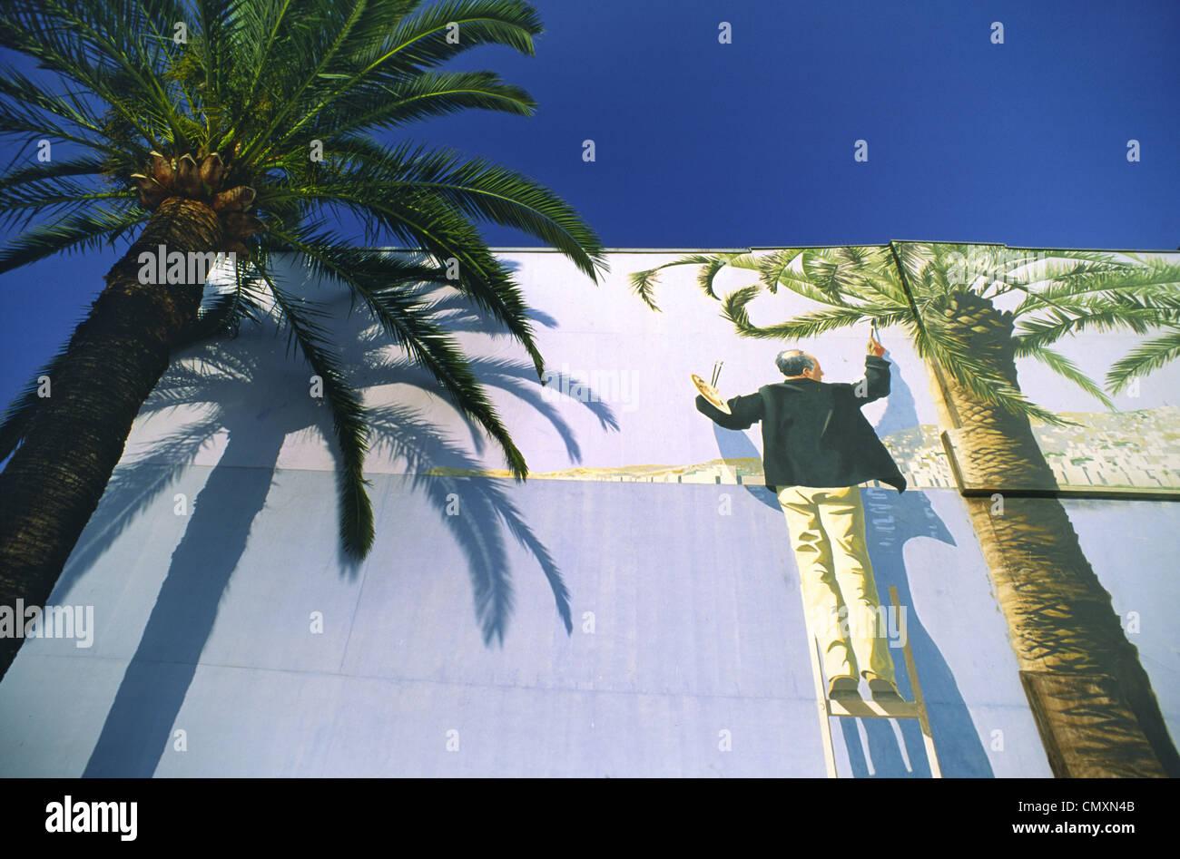 Frankreich, Nizza, Wandmalerei, Palme Stockbild