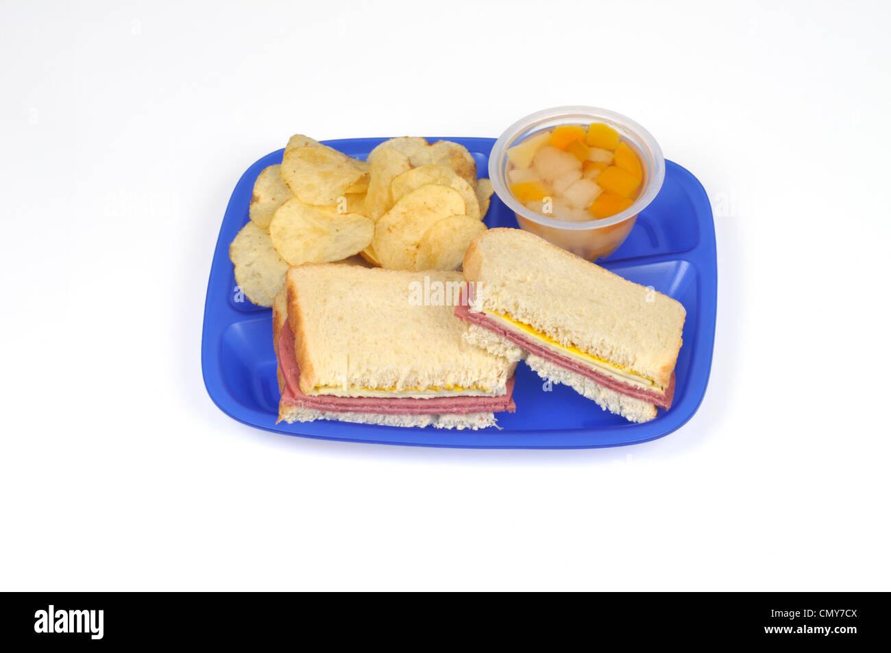 Schulkonzept-Mittagessen-Tablett mit Salami und Käse-Sandwich, Chips und Obstbecher Stockbild
