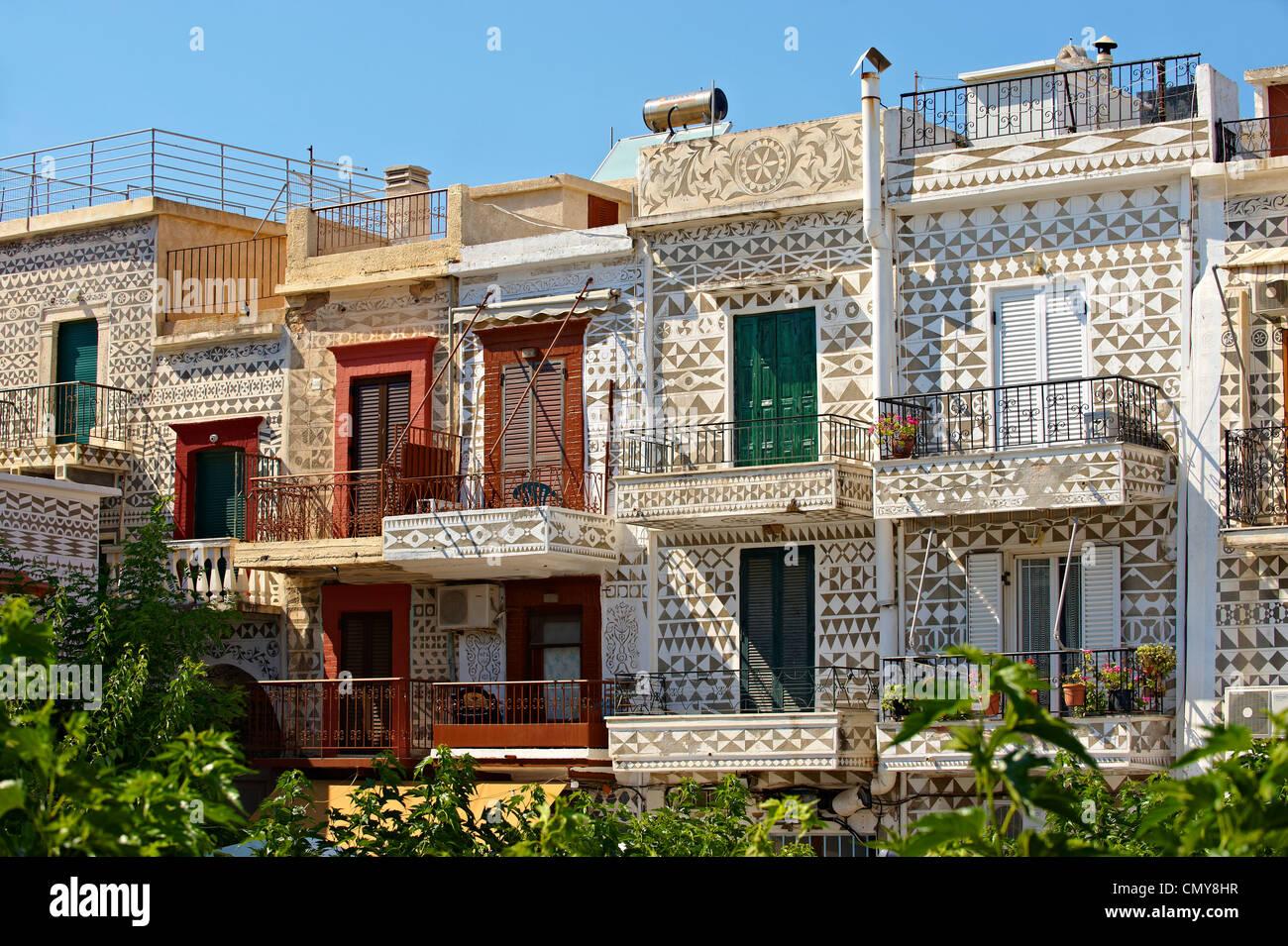 Xysta Dekorationen an den Häusern von Pygri, Mastix Dorf der südlichen Insel Chios, Griechenland Stockbild