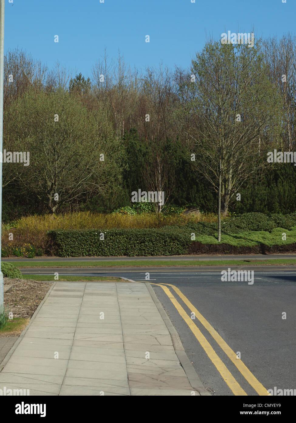 Eine Fußgängerzone mäandernden in Richtung einer Ecke Flanke von grünen Büschen an einem Stockbild