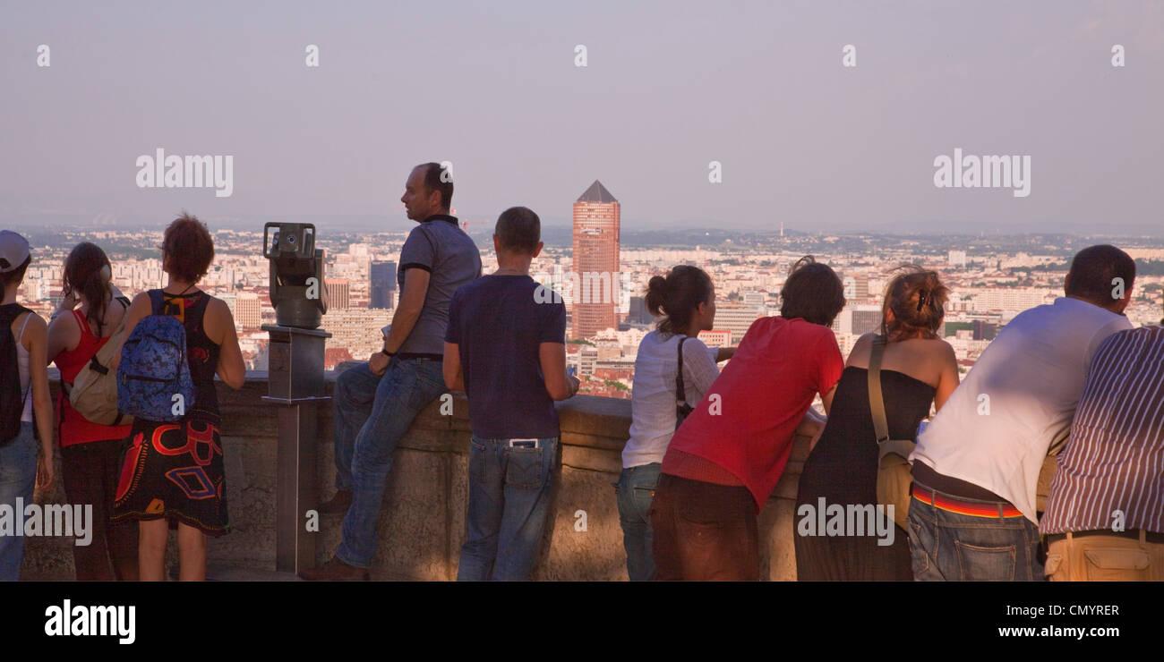 Sicht der Notre-Dame de Fourvière Hügel, Lyon, Rhone-Alpes, Frankreich Stockbild
