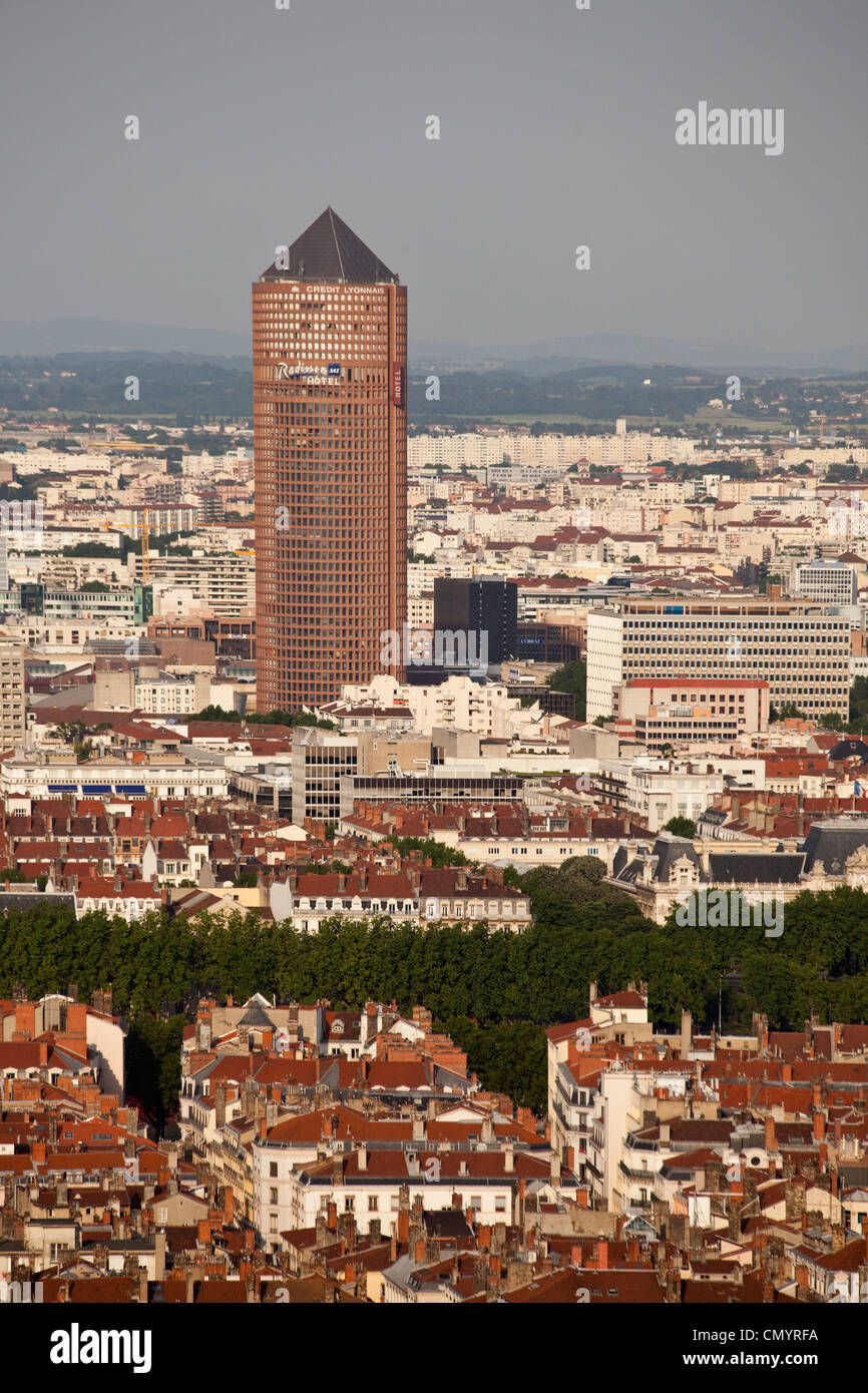 Blick vom Aussichtspunkt von Notre-Dame de Fourvière Hügel, Tour du Crédit Lyonnais, Tower, Lyon, Stockbild