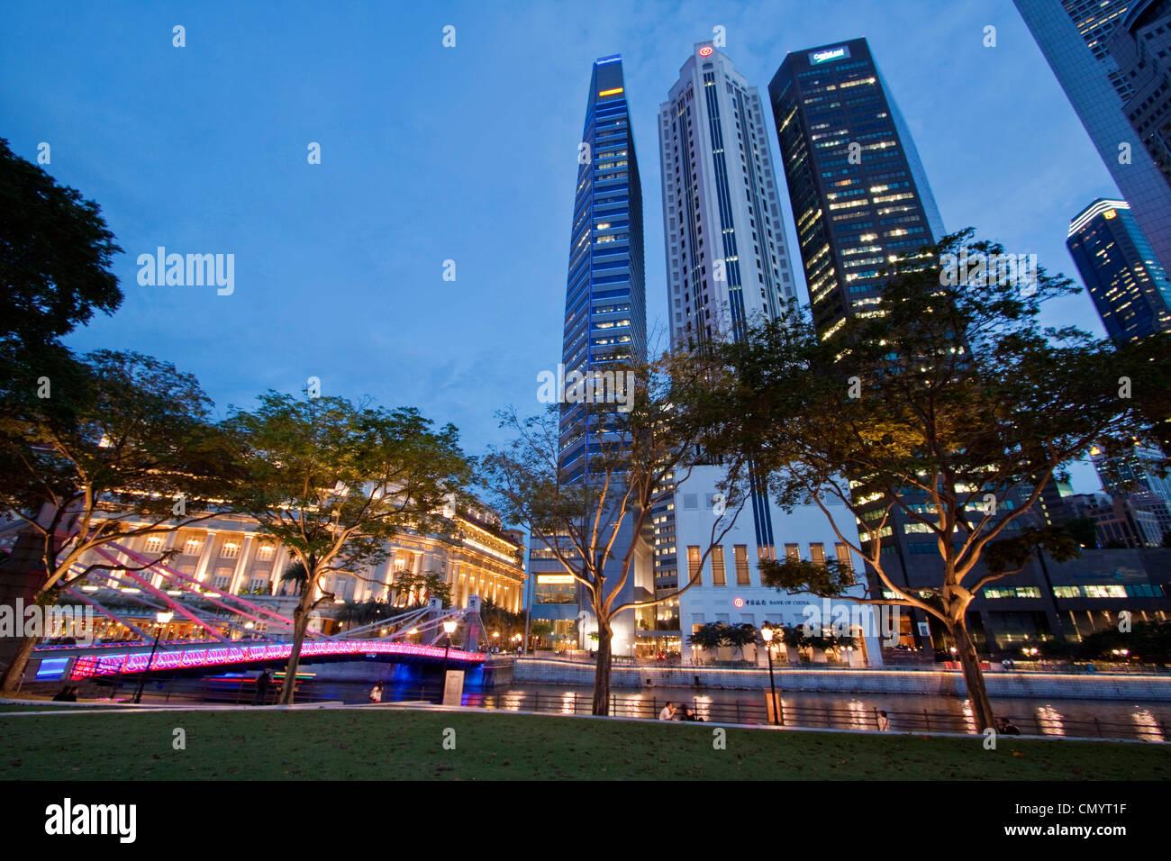Asien Singapur Skyline Panorama, Fullerton Hotel Stockfoto