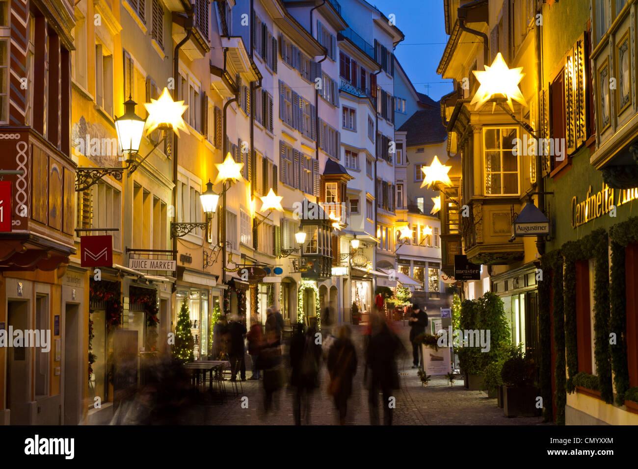 Augistinergasse, Weihnachtsbeleuchtung, Altstadt, Zürich, Schweiz Stockbild